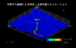 "{""ja"":""天然ダム決壊・氾濫シミュレーション"",""en"":""Natural dam breakdown and flooding simulation""}"